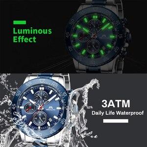 Image 3 - Relogio Masculino 2020 MEGALITH luruxy kwarcowy zegarek mężczyźni pełny stalowy pasek tłoczone głowa wilka zegar mężczyźni wodoodporny zegarek świetlny