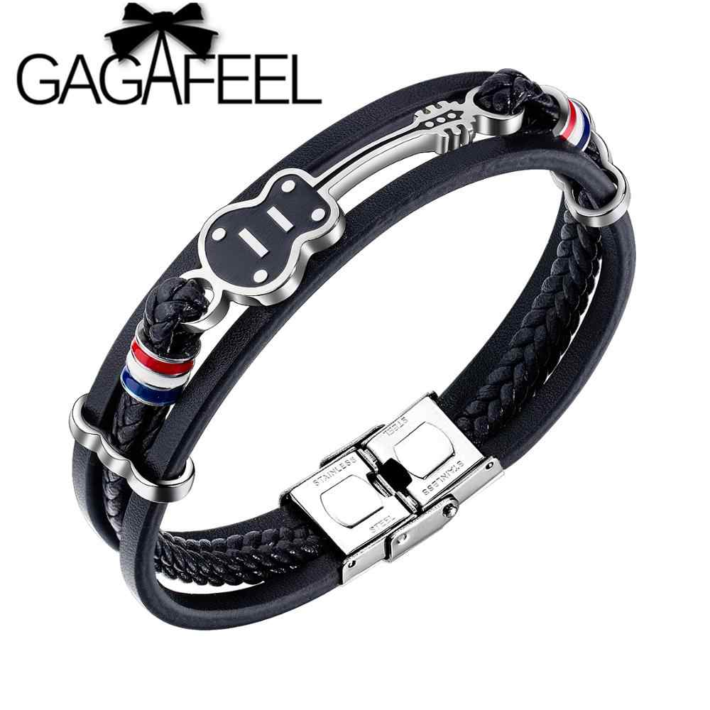 GAGAFEEL Punk Stainless Steel Guitar Bracelets Personalized Handmade Weaved Rope Chain Braided Leather Jewelry for Men