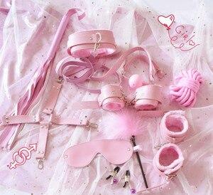 10 Uds. De juguetes sexuales exóticos, accesorios para sadomasoquismo erótico, juego de Bondage, esposas, pinzas para pezones, látigo, cuerda, productos sexuales para parejas y mujeres
