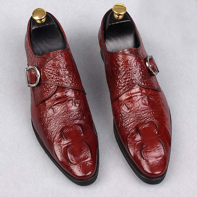 Crocodile pattern breathable casual Dress Shoes