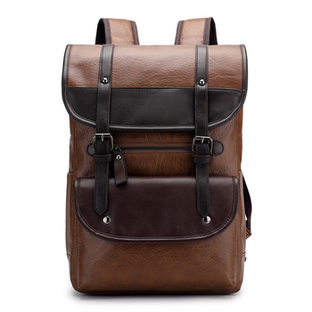 Fashion Men 's Travel Backpack Large Capacity Patchwork Straps Buckled Trendy Travel Bag New Style Soft Shoulder Bag Male Large