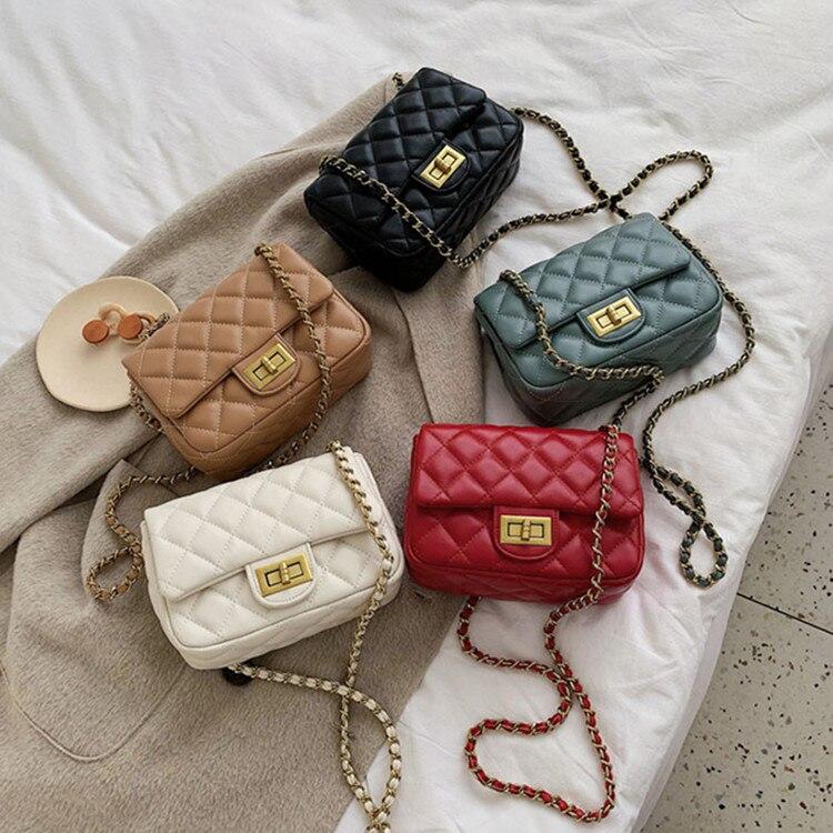 INs Korea Style PU Leather For Women Handbags Purses Ladies Crossbody Shoulder Bags Girls Chain Mini Phone Bags Bolsos Feminina