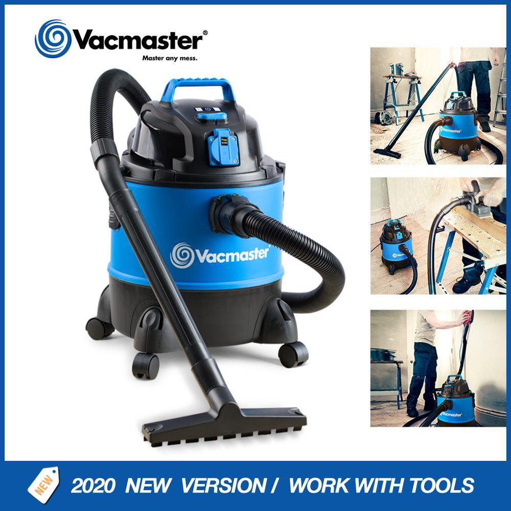 Aspirador Industrial Vacmaster, aspiradora en seco y húmedo con toma de corriente, colector de polvo para garaje y taller