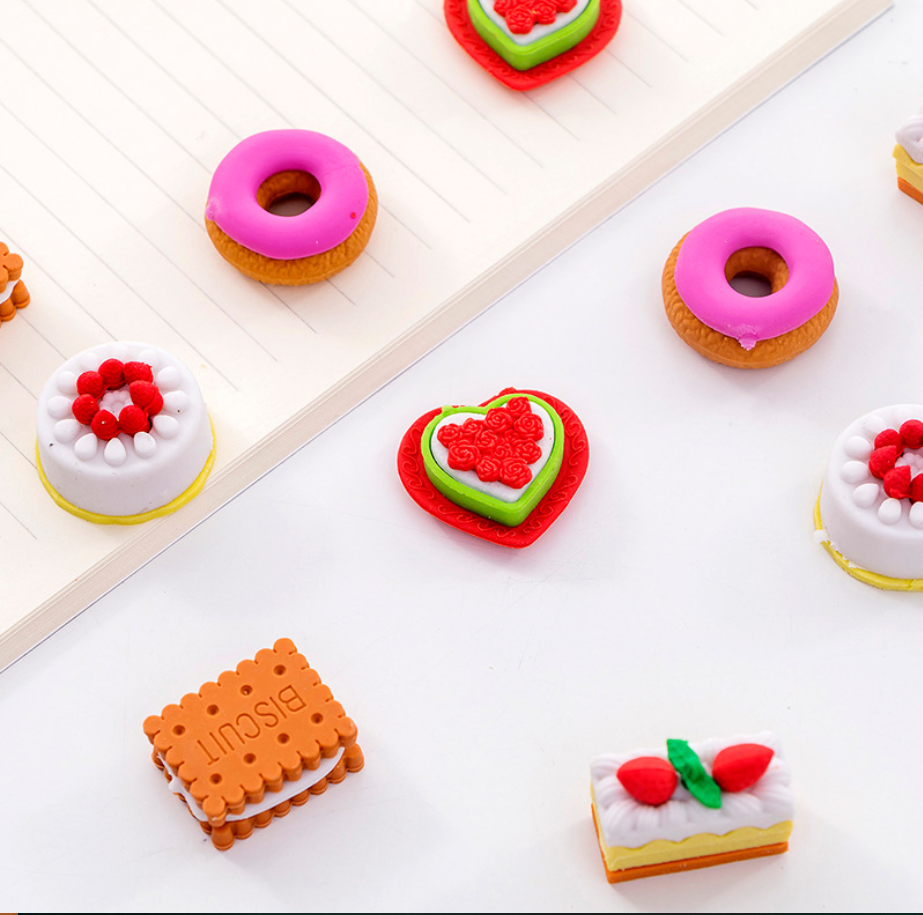 Cute Cake Doughnut Biscuit Pens Eraser Set Kawaii Pencil Erasers For Kids Rubber Stationery School Supplies Student Prizes Gifts