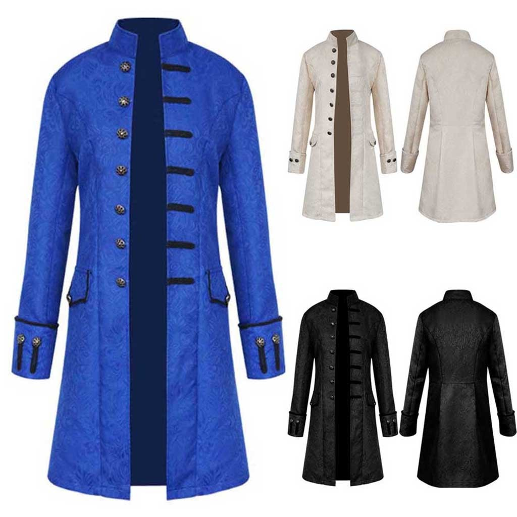 H2744f57cc6474ff7902b4228ed1a84e60 Men Trench Coat Steampunk Jacket Medieval Costume Men Long Sleeve Gothic Brocade Jacket Frock Vintage Stand Collar Men's Coat