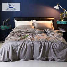 Liv-Esthete Luxury 100% Silk Gray Bedding Set Silky Healthy Skin Duvet Cover Pillowcase Flat Sheet Double Queen King Bed Linen