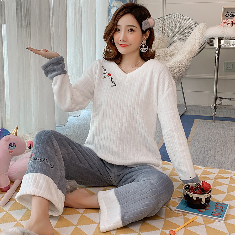Coral Velvet Pajamas Women's Autumn And Winter Long Sleeve Cute Rose Set Flannel Sweet-Outer Wear Large Size Spring Home Wear