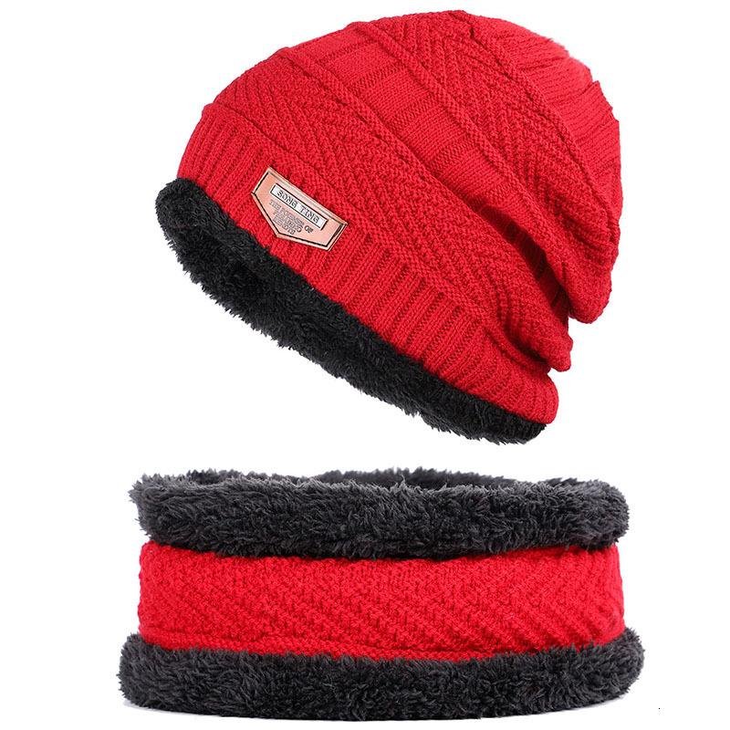 Winter Men Woman Hat Scarf Suit Knit Warm Beanie Hat For Men Skullies Beanies Thickening Plus Velvet Scarf Suit Unisex 2Pcs-in Men's Skullies & Beanies from Apparel Accessories