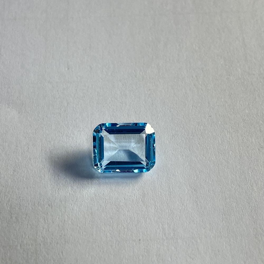 Emerald cut 10×8mm 4.1 carats 100% natural sky blue topaz loose gemstone for fashion earring Ring making