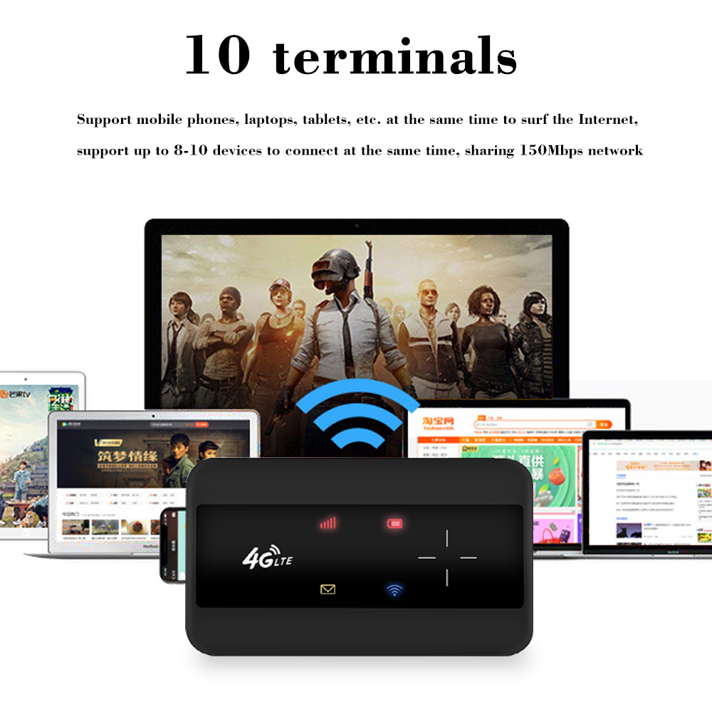 KuWFI Portable 4G LTE Router 3G/4G Wifi SIM Router Modem Pocket Wi-fi Mobile Hotspot Car Wi-fi Router With Sim Card Slot 5
