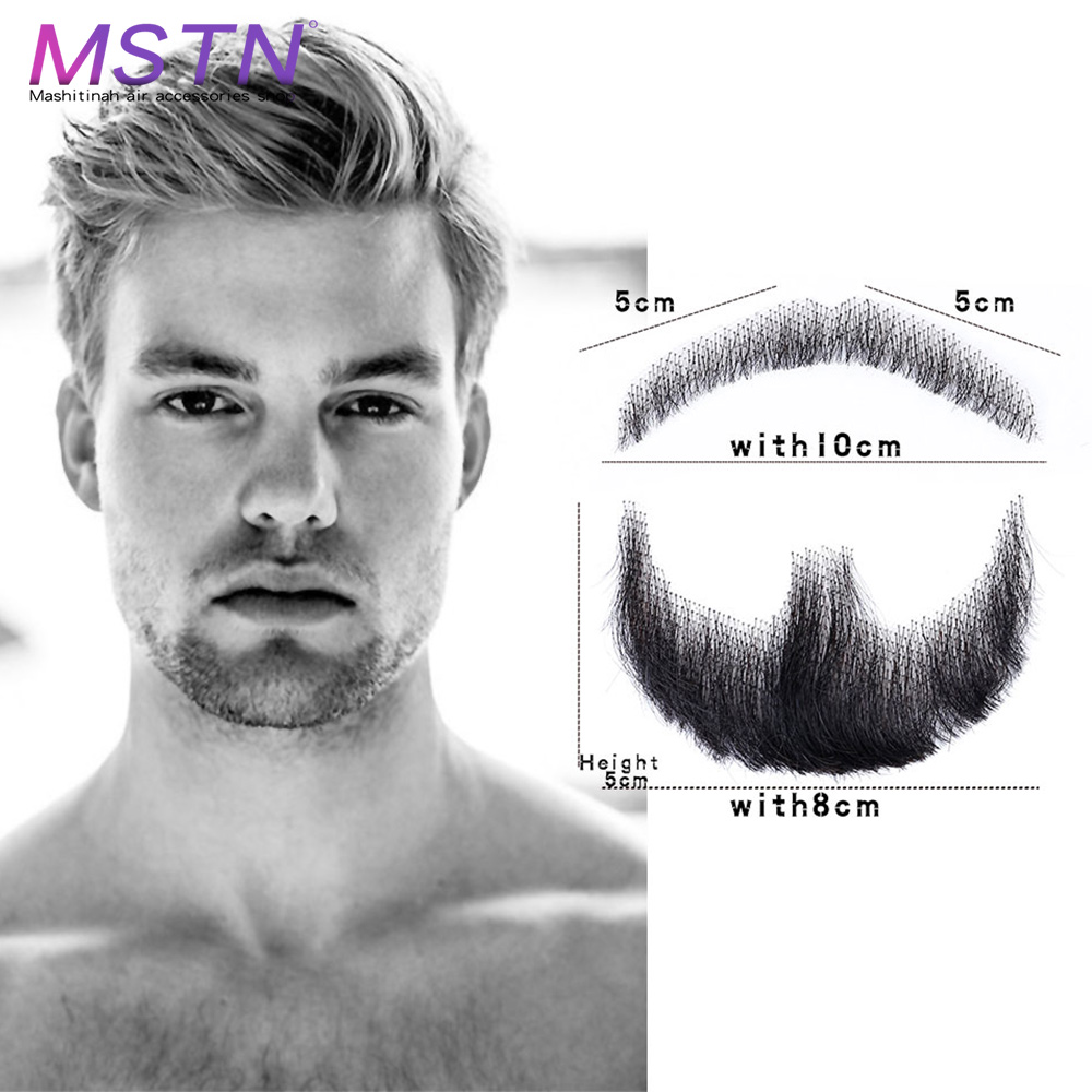 MSTN Man's Lace Beard Hand Made Real Hair Fake Beard Mustache Fancy Synthetic Lace Invisible Mustachio Barba Falsa image
