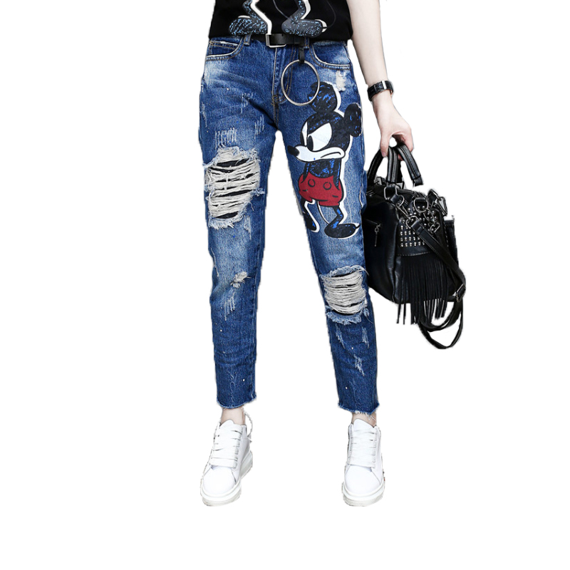 Streetwear Cartoon Print Jeans Woman Destroyed Ripped Jeans Distressed Slim Denim Jeans Women Casual Harem Denim Pants