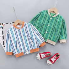 Cotton Jacket Outerwear Spring Autumn Girls Baby-Boys Children Striped for Casual Long-Sleeve