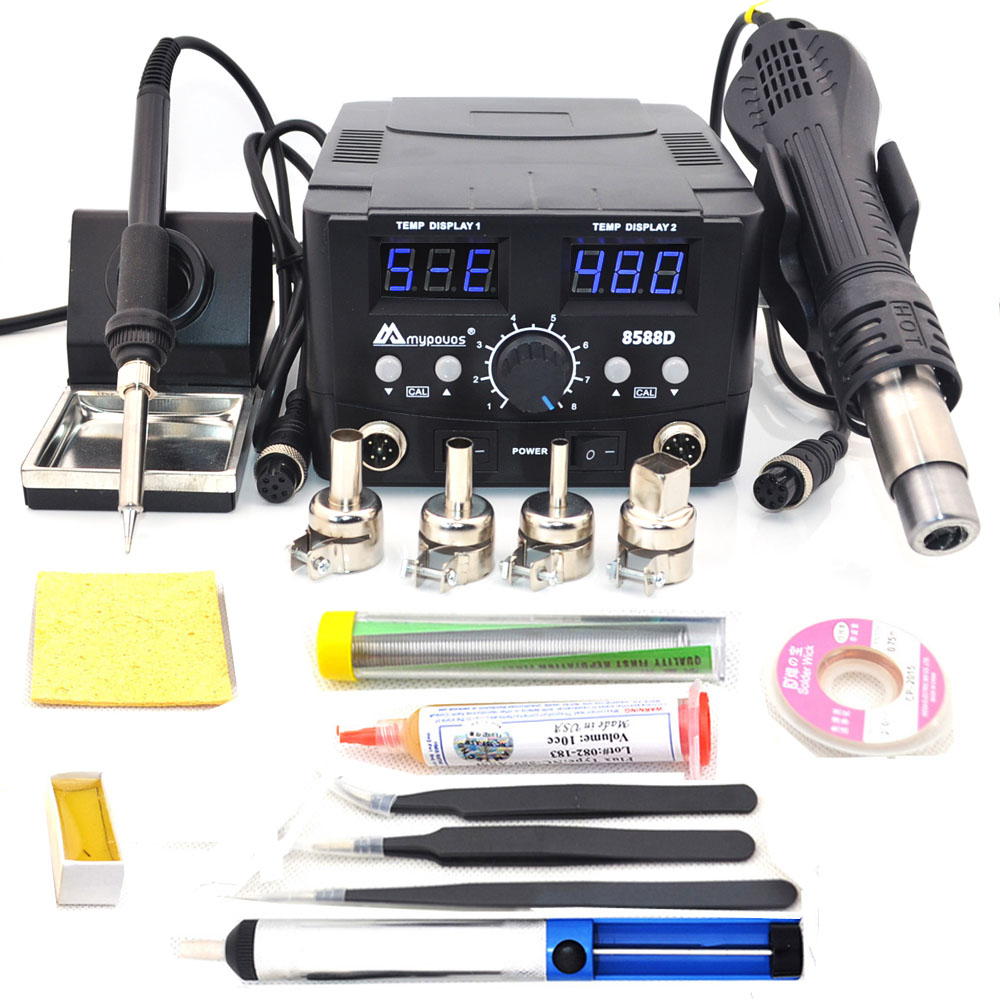 Mypovos 8588D Profession Double Digital Display Electric Soldering Irons Soldering Station+Hot Air Gun Better SMD Rework Station