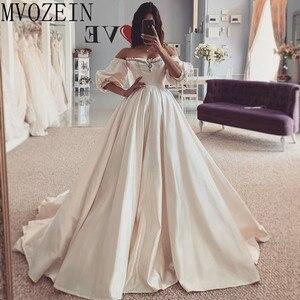 Image 2 - Vintage Wedding Dresses 2019 Satin Bridal Gowns Off The Shoulder Full Sleeves Hand Beading Wedding Dress robe de mariage