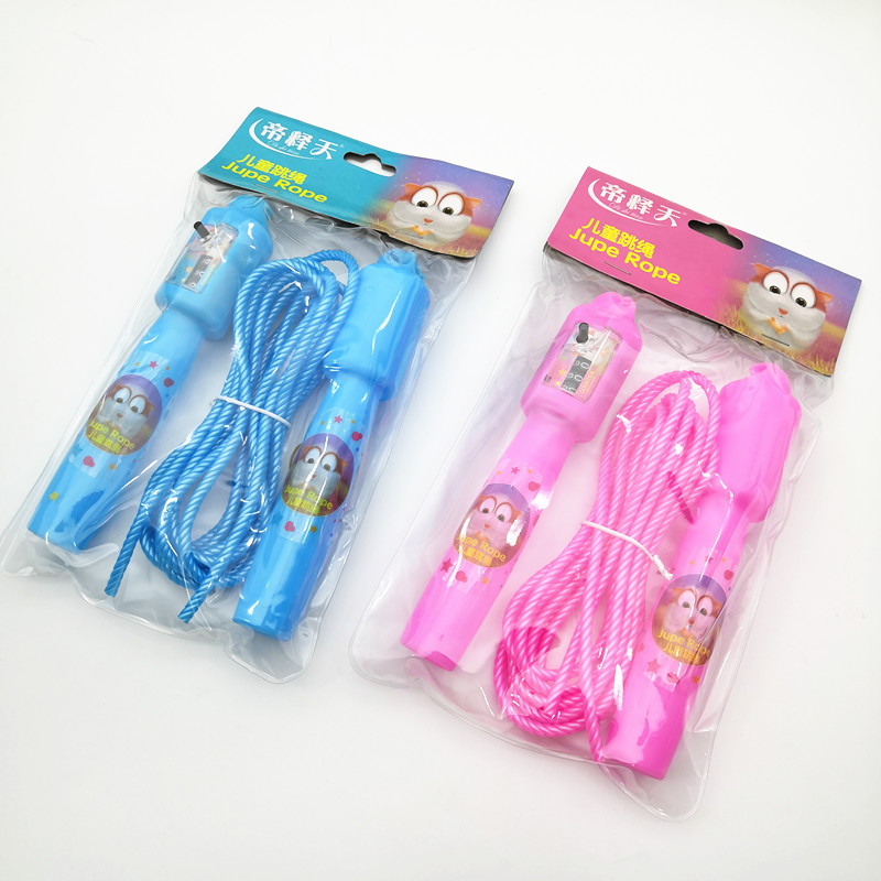 CHILDREN'S Cartoon Count Jump Rope Color Handle Adjustable Students Jump Rope Cute Hot Sales PVC Jump Toy
