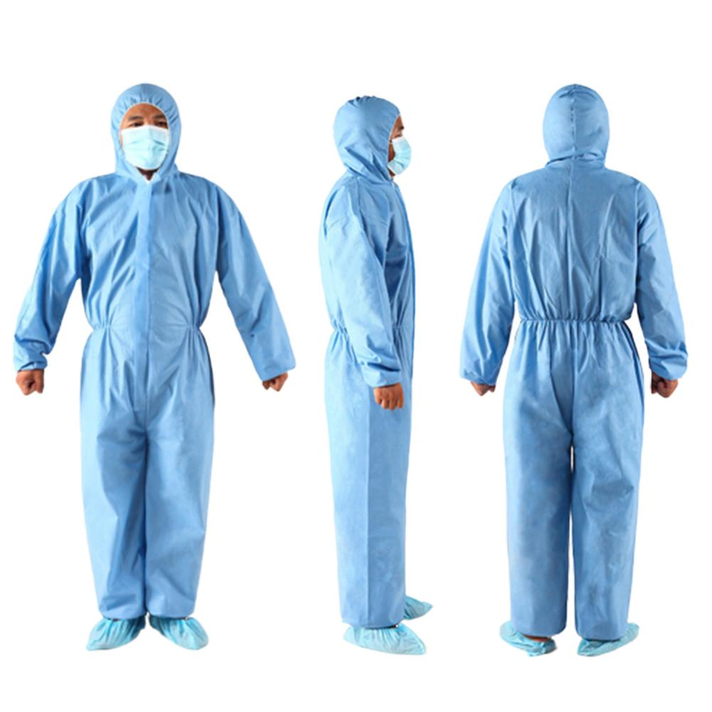Unisex Disposable Non Woven Zip Isolation Gown Overall Coverall Protective Suit Waterproof And Oilproof Overalls Dust-proof