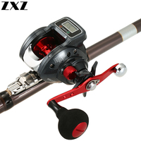 Electric Digital Display 16+1 Ball Bearing Left / Right Ice Fishing Reel Baitcasting Line Counter Reel 6.3:1 Casting Reel Gear