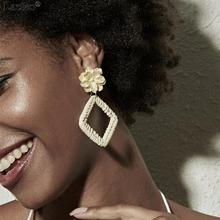 Lacteo Simple Minimalist Geometric Square Dangle Earrings Women Statement Yellow White Flower Drop 2019 Fashion Jewelry
