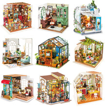 Robotime Wooden Dollhouse Kits 3D DIY Miniature Doll House Furniture Toys for Children Birthday Gifts Best Collection