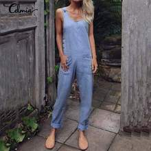 2020 Summer Fake Denim Rompers Women Celmia Solid Pockets Buttons Jumpsuits Ladies Sleeveless Straps
