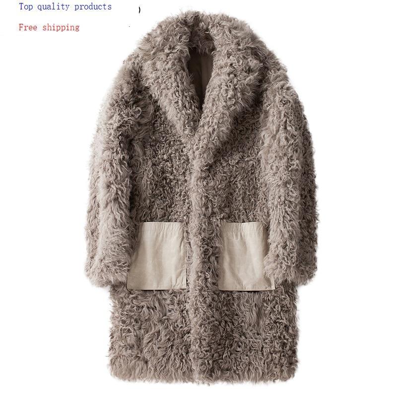 AYUSNUE Real Fur Coat Men Sheep Shearling Winter Jacket Men Long Wool Fur Coats And Jackets Natural Lamb Fur 2020 19343 KJ3315