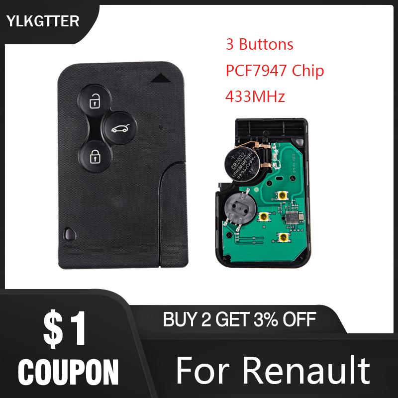 YLKGTTER 3 botones de emergencia inteligente remoto llave de coche para Renault llave Megane 2 Tarjeta Scenic II gran Clio con 433Mhz Chip PCF7947