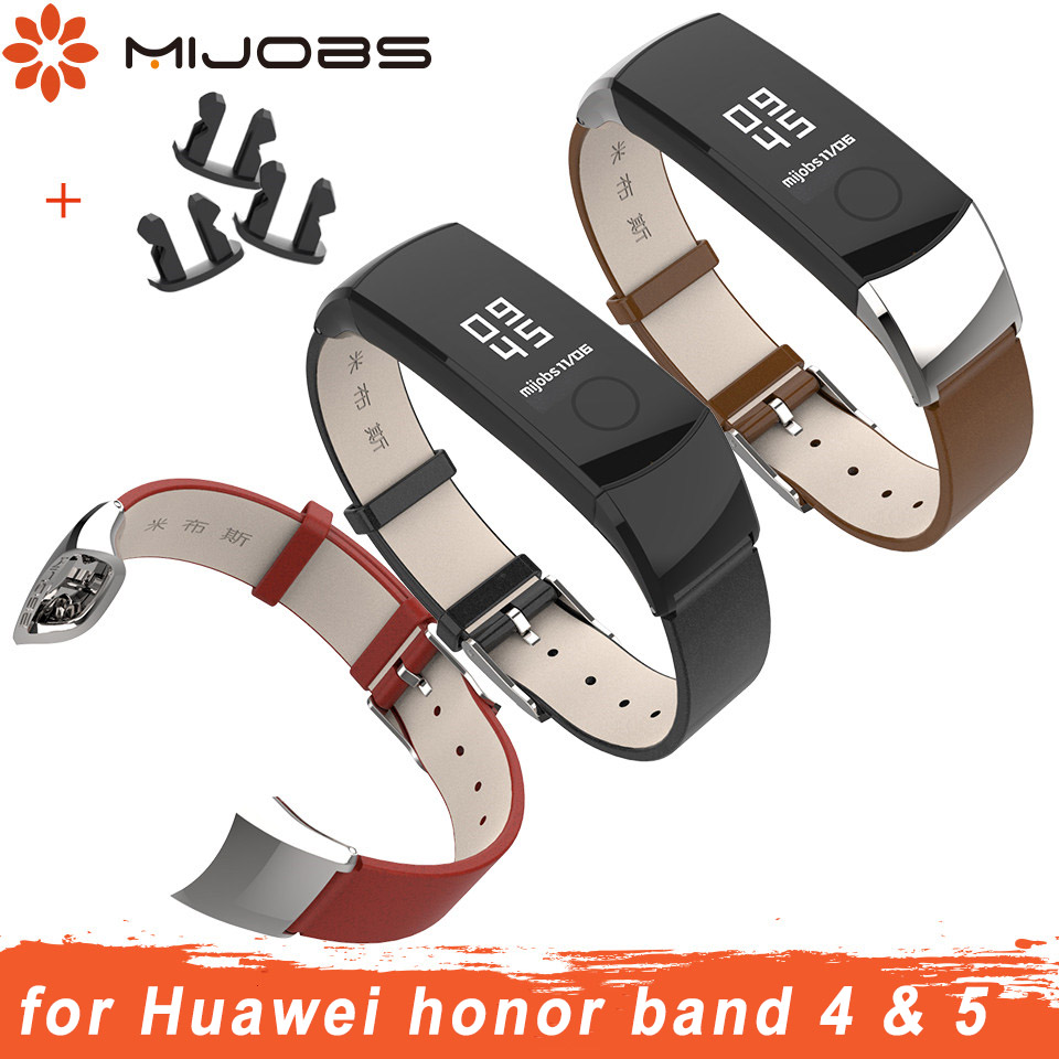 Mijobs Genuine Leather Strap For Huawei Honor Band 4 Strap Watchband Wristband For Honor Band 5 Strap Bracelet Smart Accessories
