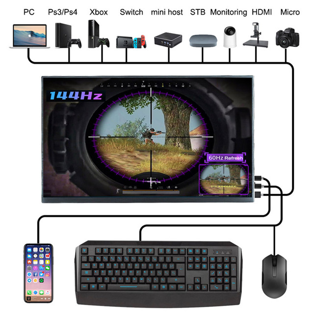 15.6inch Portable Monitor Touch Screen Usb C HDMI for Xiaomi Huawei Ps4 Xbox Laptop Lcd Gaming Monitor 144Hz Mobile Mini Pc Lcd 4