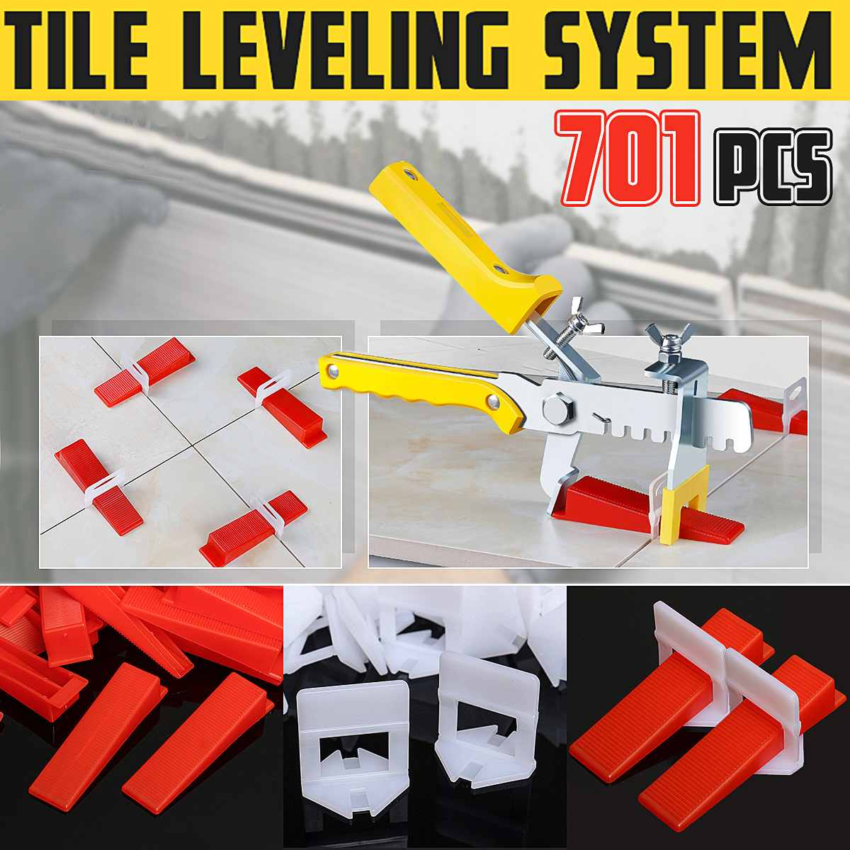 700Pcs Tile Leveling System 500 Clips + 200 Wedges + 1 Pliers Plastic Ceramic Tiling Flooring Tools Tile Spacer