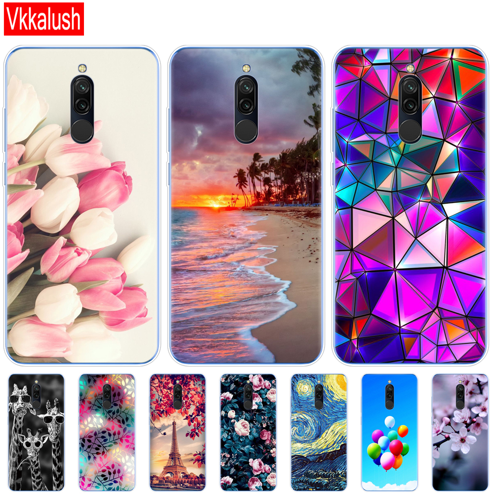Silicon Case For Xiaomi Redmi 8 Cases Full Protection Soft Tpu Back Cover On Redmi 8 Bumper Hongmi 8 Phone Shell Bag Coque