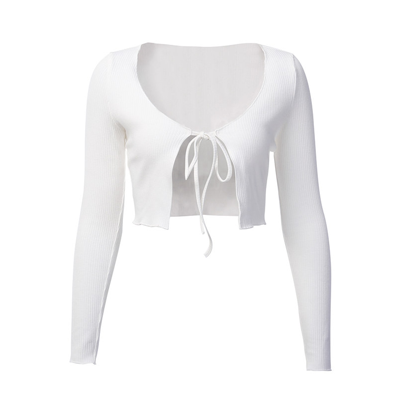 H2747381b089c446a8b01f84ad83619fe4 - WannaThis White Knitted Slim Crop Tops V-Neck Autumn Women Lace Up Bow Split Long Sleeve T Shirts Sexy Female Party Casual Tees