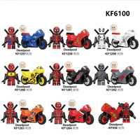 Conjunto venda super heróis blocos de construção deadpool ghost rider com motocicleta figuras de plástico coleção brinquedos para crianças kf6100