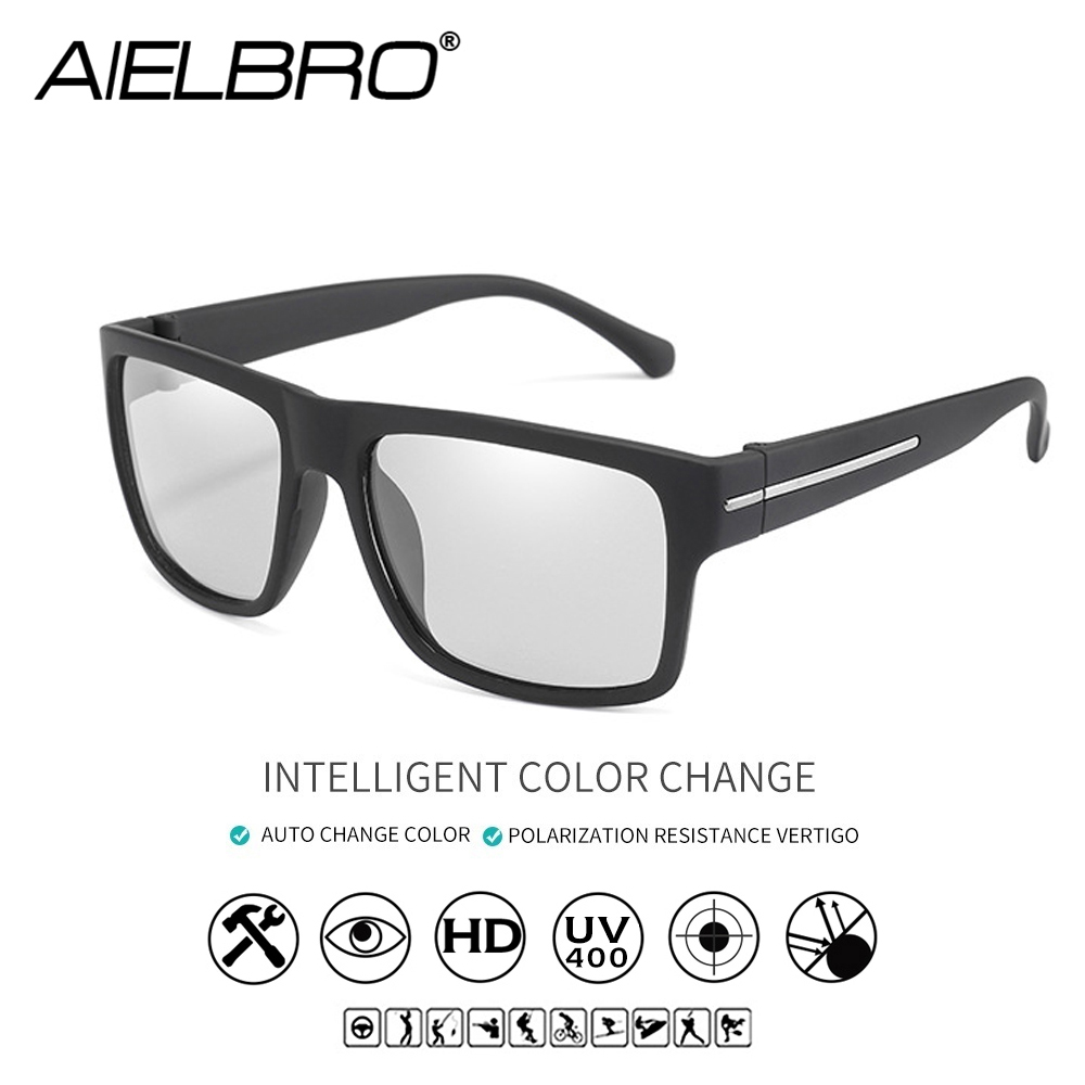 AIELBRO Photochromic Sunglasses Men Polarized Sun Glasses Male HD Vision Driving Goggles UV400 Chameleon Goggles Gafas in Cycling Eyewear from Sports Entertainment