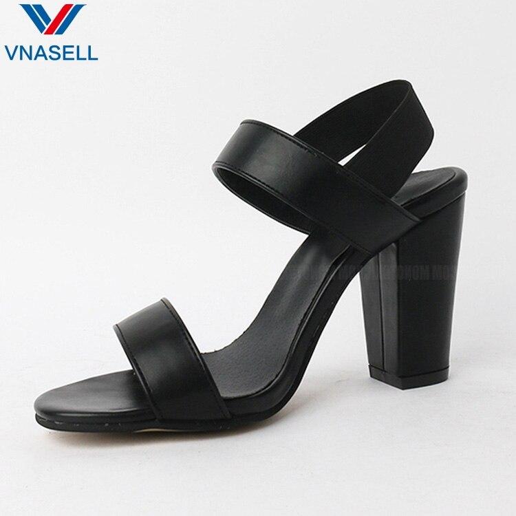 2020 summer new thick heel sandals nude round head open toe elastic band size 31 32 33 41 40 high heel women