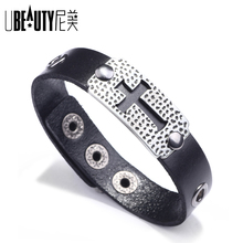 UBEAUTY 2020 new cross leather bracelet Alloy accessory man's Christ bracelet Black brown woman's re