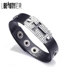 UBEAUTY 2020 new cross leather bracelet Alloy accessory man's Christ bracelet Black brown woman's religious bracelets
