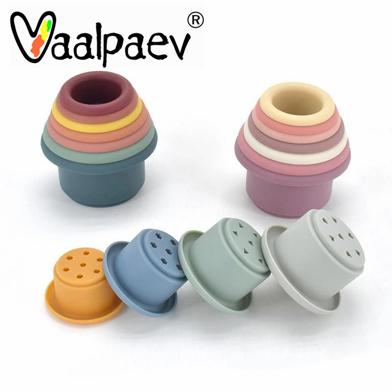Montessori Educational Toys Baby Silicone Stacking Cup Colorful Intelligence Gift Folding Tower Infant Bath Play Water Set Eco