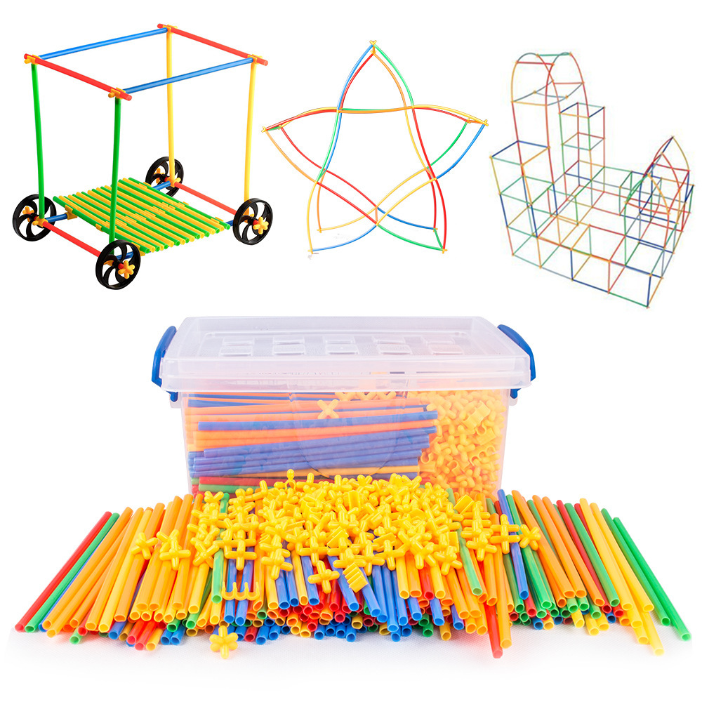 DIY straw inserted into the building block toy plastic construction suction cup creation puzzle game toy