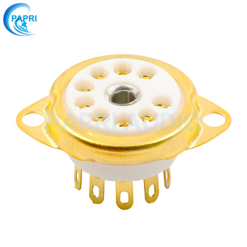 PAPRI 10PCS Ceramic B9A Gold Plated 9Pin Vacuum Tube Socket Panel Chassis Mount for ECC81 ECC82 ECC83 EL84 6922 Etc Vacuum Tube papri 100pcs 12at7 ecc81 12au7 ecc82 12ax7 ecc83 e88cc el84 pcb mount 9pin ceramic b9a vacuum tube socket audio hifi diy amps