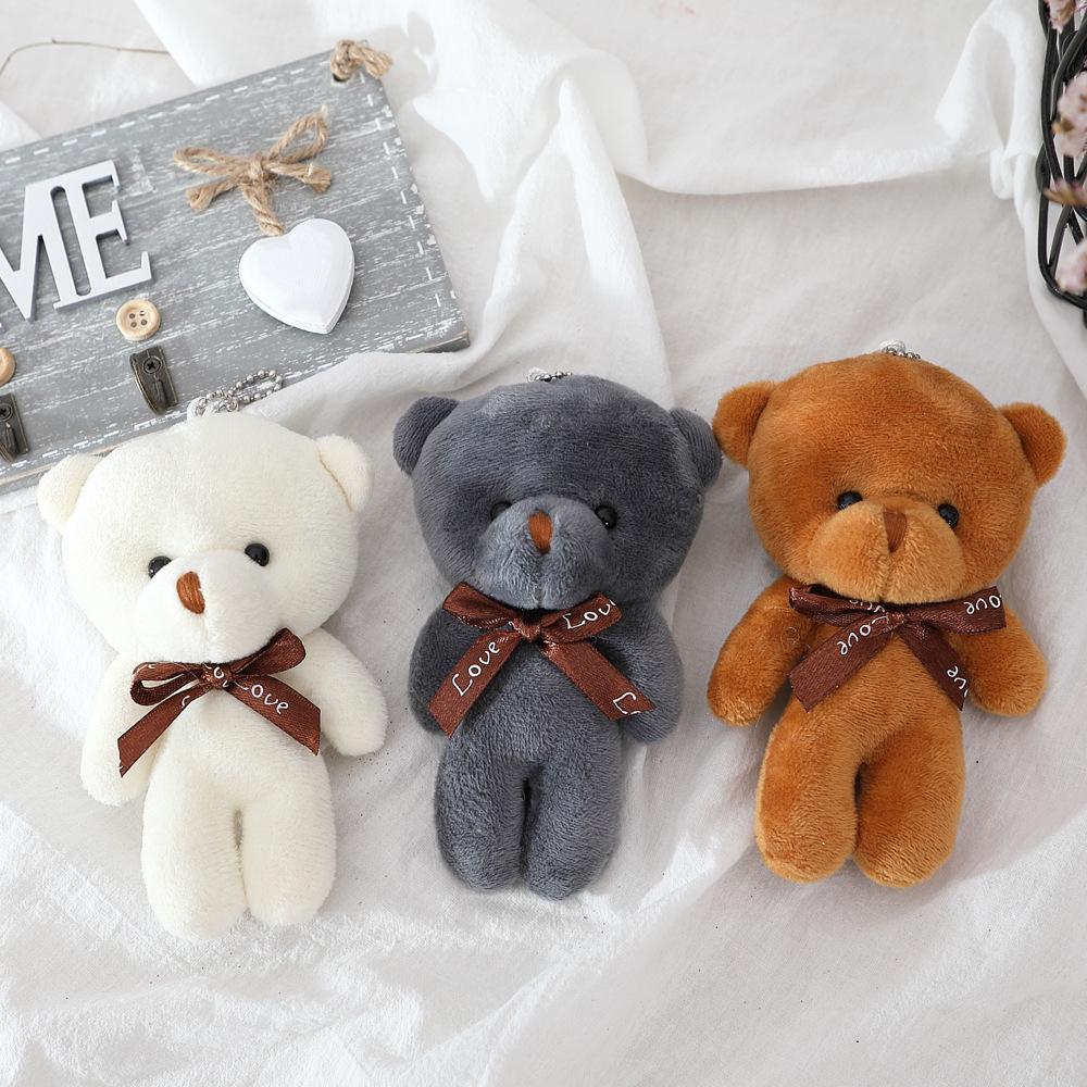 10PCS 12cm A Tie Plush Toy Teddy Bear Doll Pendant Keychain PP Cotton Soft Stuffed Bears Toy Doll Toy Gifts