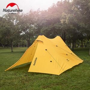 Image 4 - Naturehike שדרוג 10 אדם גדול קמפינג אוהל חיצוני 40D סיליקון ניילון כפול מגדל שמשיה חוף מקלט שמש אוהל