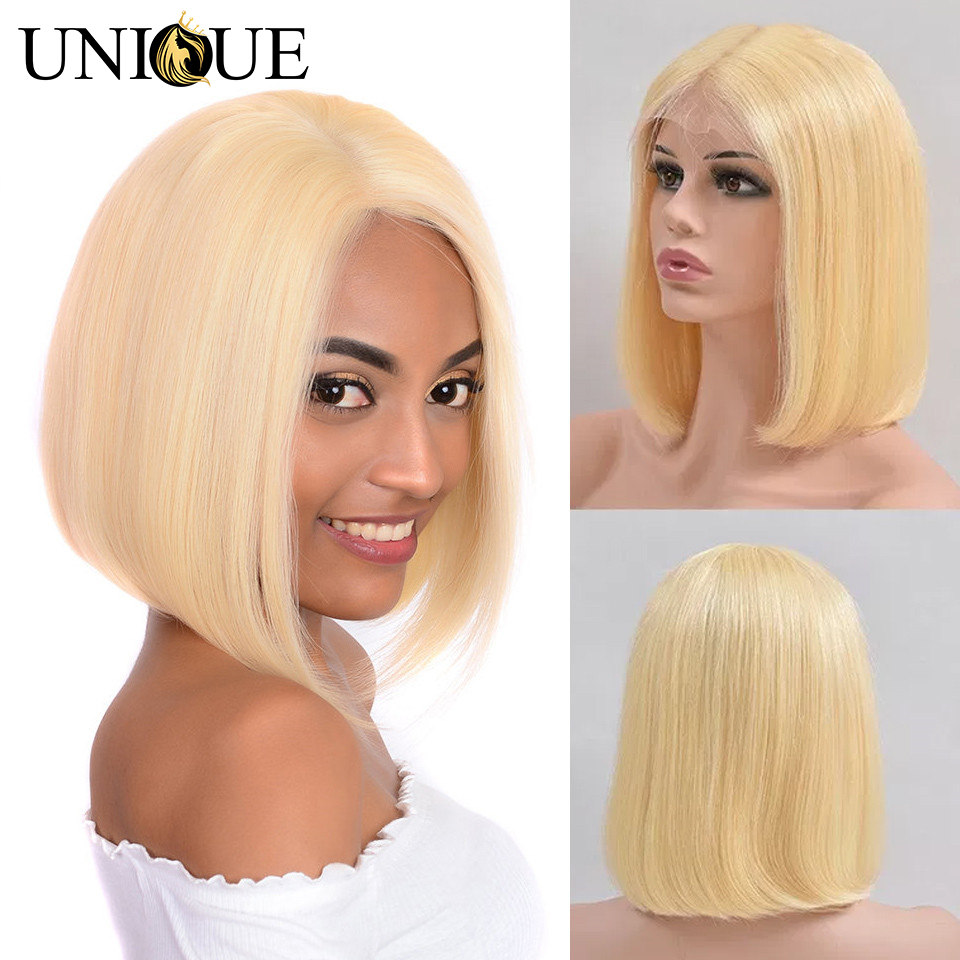 613 Short Bob Lace Front Human Hair Wigs 5x5 Bob Wig Brazilian Straight Blonde Bob Lace Front Wigs Unique Hair Short Bob Wig image