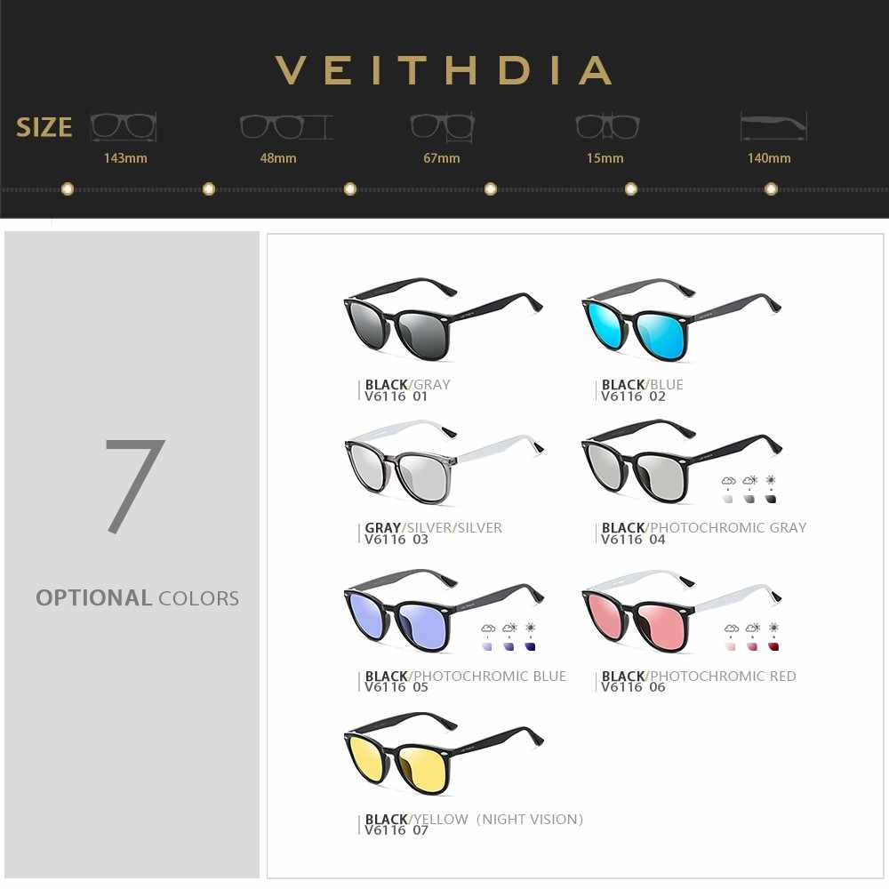 VEITHDIA 2020 Unisex อลูมิเนียม + TR90 ผู้ชาย Photochromic กระจกดวงอาทิตย์แว่นตาแว่นตาอุปกรณ์เสริมแว่นตากันแดดสำหรับผู้ชายผู้หญิง 6116