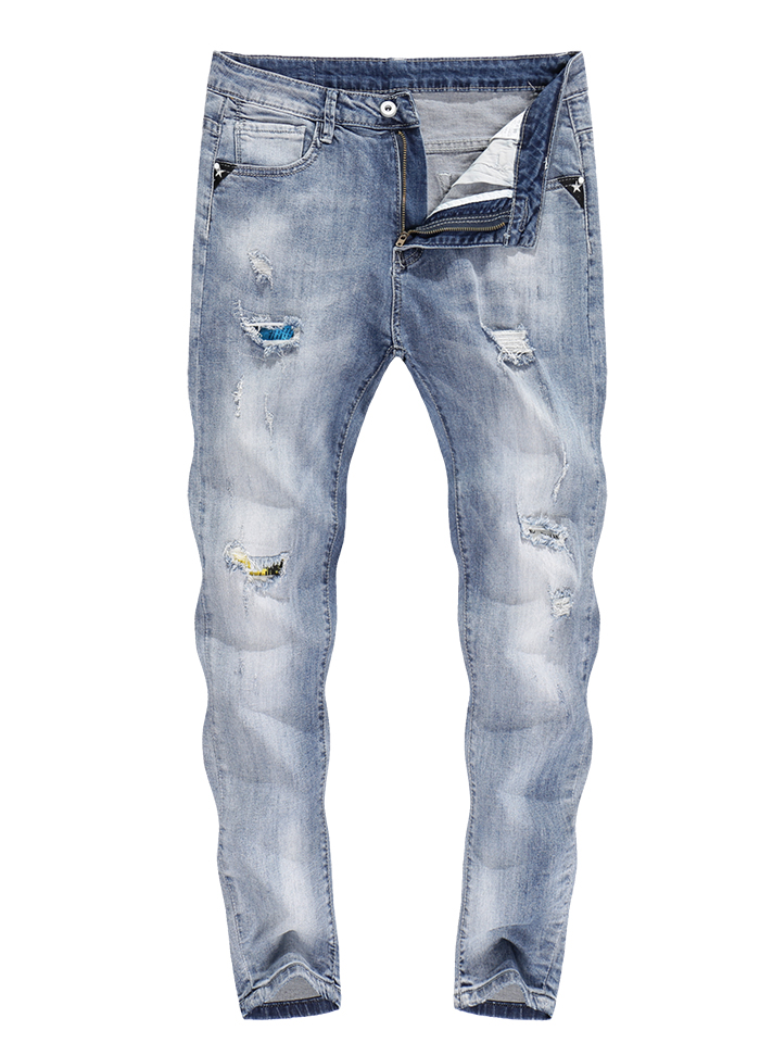 KSTUN Skinny Jeans Men White Stretch Ripped Jeans for Man Cropped Pants Distressed Frayed Streetwear Hip hop Moto Mens Tapered Jeans 11
