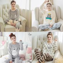 Autumn Winter Women Thickened Flannel Pajamas Sets Long Sleeve Cartoon Sleepwear Home Wear for Girls