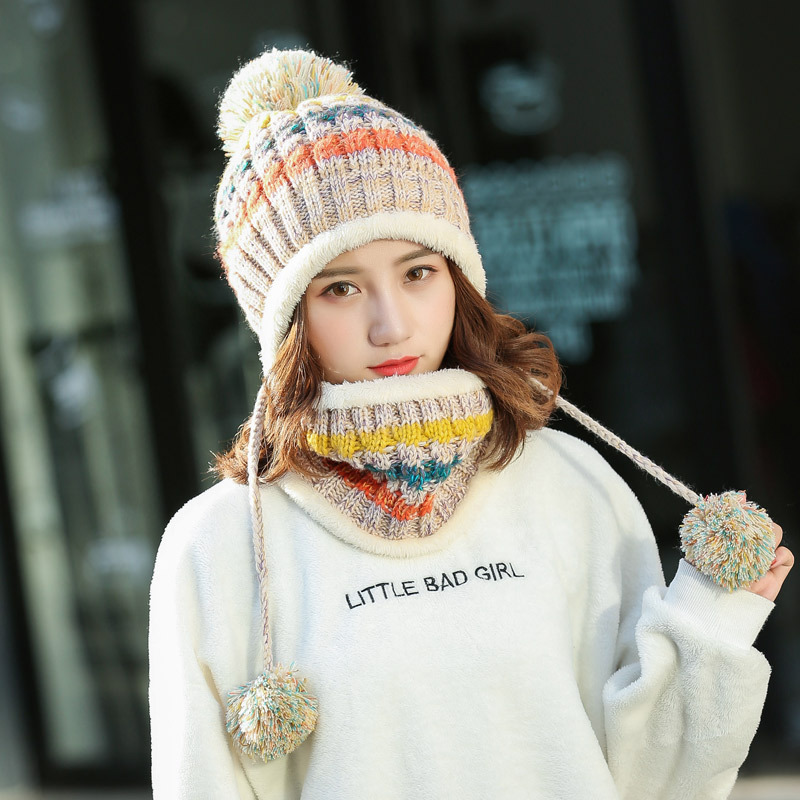 New Warm Knit Hat Scarf Set Women Pom Poms Beanie Hat For Winter Autumn Neck Mask Hat For Girls Balaclava Sacrf Skullies Hats