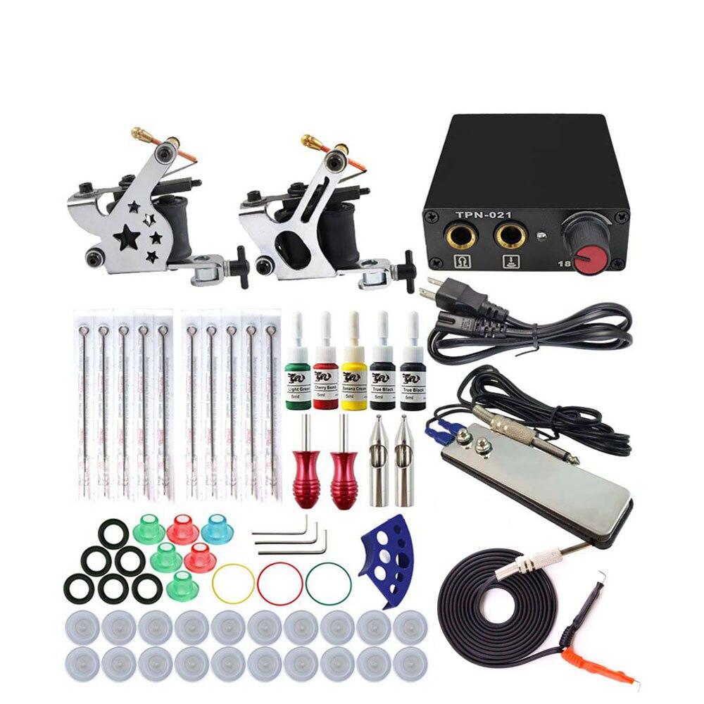 Conjunto completo kit de máquina tatuagem 2 bobinas armas 5 cores pigmento preto conjuntos de energia tatuagem iniciante apertos kits maquiagem permanente
