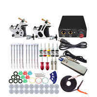 Komplette Tattoo Maschine Kit Set 2 Spulen Pistolen 5 Farben Schwarz Pigment Sets Power Tattoo Anfänger Grips Kits Permanent Make-Up