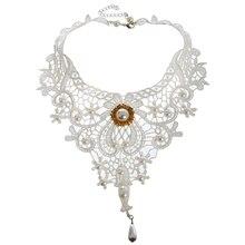 Encaje blanco Steampunk gargantilla victoriano gótico falso Collar de perlas Collar de novia